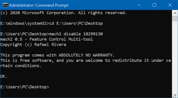 Deshabilitar el encabezado de configuración de Windows 10 pic1