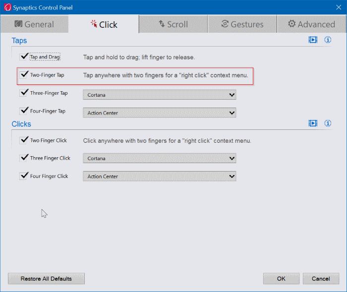 habilitar el toque con dos dedos en el método de Windows 10