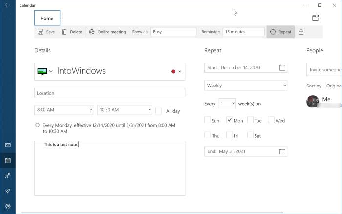 agregar o eliminar recordatorios en el calendario de Windows 10 pic7