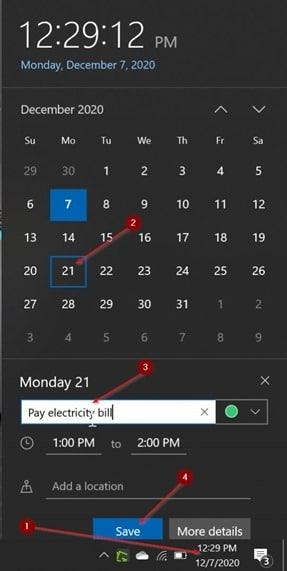 agregar o eliminar recordatorios en el calendario de Windows 10 pic12