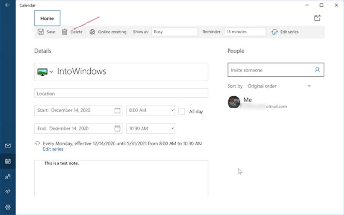 agregar o eliminar recordatorios en el calendario de Windows 10 pic10