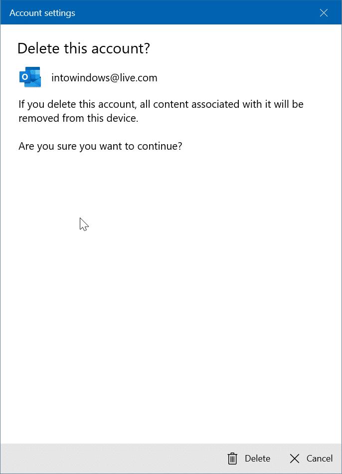 reorganizar las cuentas de correo electrónico en la aplicación de correo de Windows 10 pic3