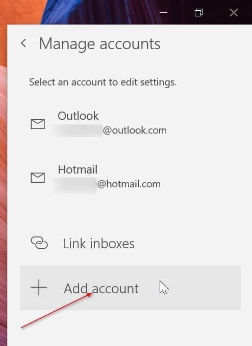 reorganizar las cuentas de correo electrónico en la aplicación de correo de Windows 10 pic7