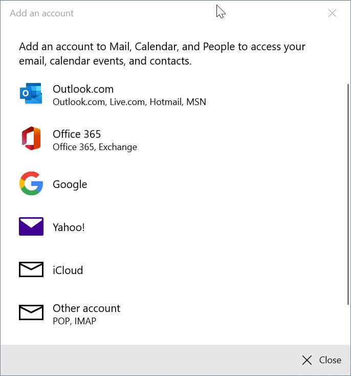 reorganizar las cuentas de correo electrónico en la aplicación de correo de Windows 10 pic8