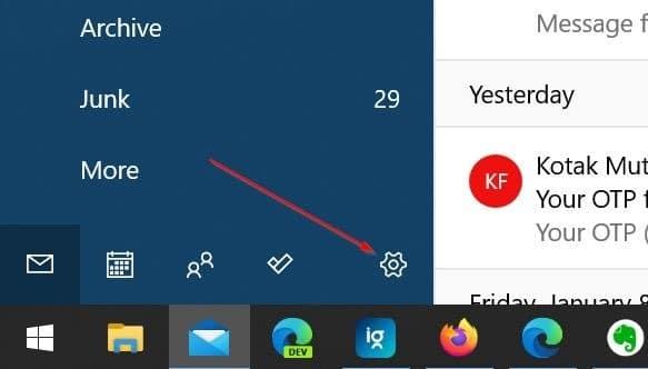 reorganizar las cuentas de correo electrónico en la aplicación de correo de Windows 10 pic5