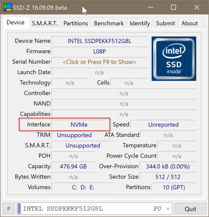 compruebe si su PC tiene SSD NVMe o SSD SATA en Windows 10 pic8