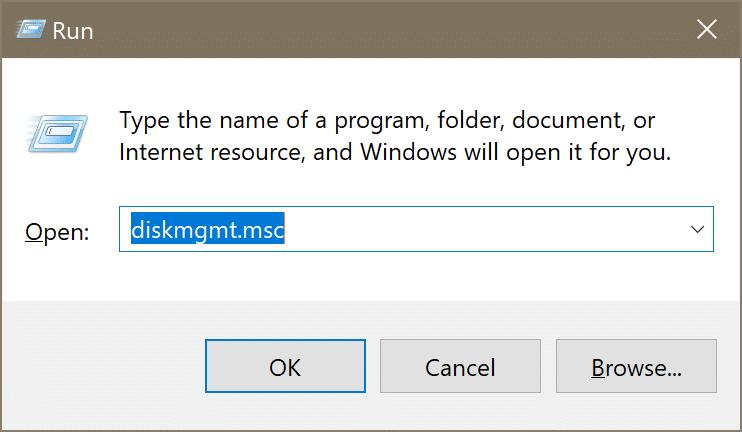 gestión de disco abierto en Windows 10 pic1