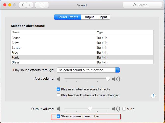 mostrar el icono de volumen en la barra de menú de macos pic02
