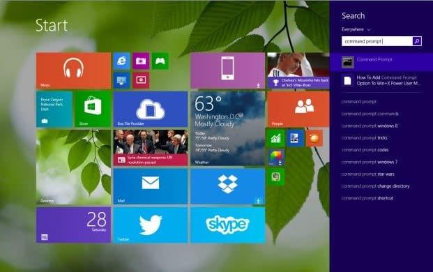 Ejecute el símbolo del sistema como administrador en Windows 8.`