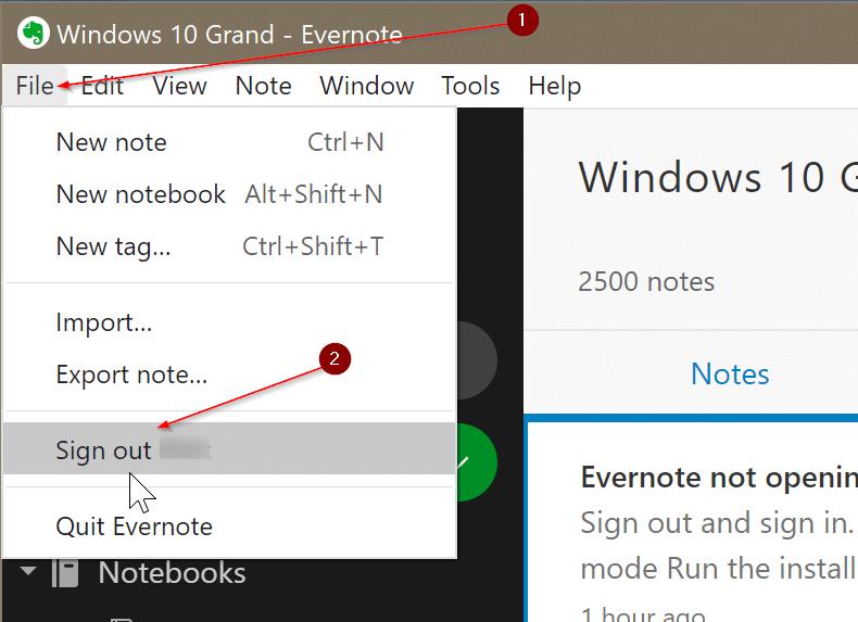 Evernote no se abre o no funciona en Windows 10 pic4