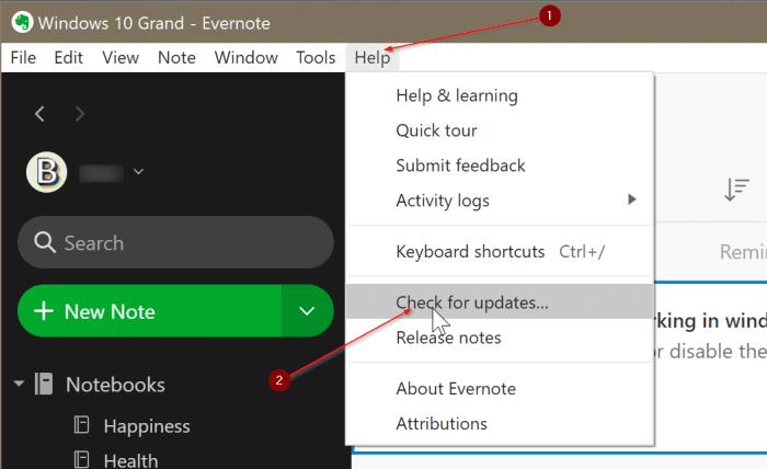 Evernote no se abre o no funciona en Windows 10 pic3