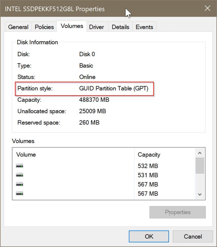 compruebe si un disco es GPT o MBR en Windows 10 pic3