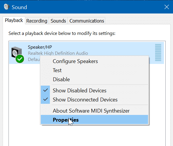 deshabilitar el altavoz del portátil en Windows 10 pic3