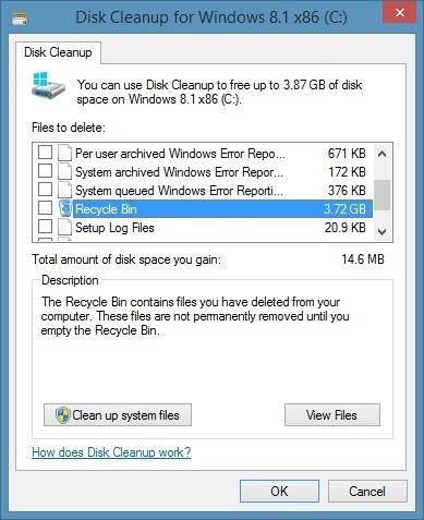 Ver el tamaño de todos los archivos en la papelera de reciclaje, paso 1