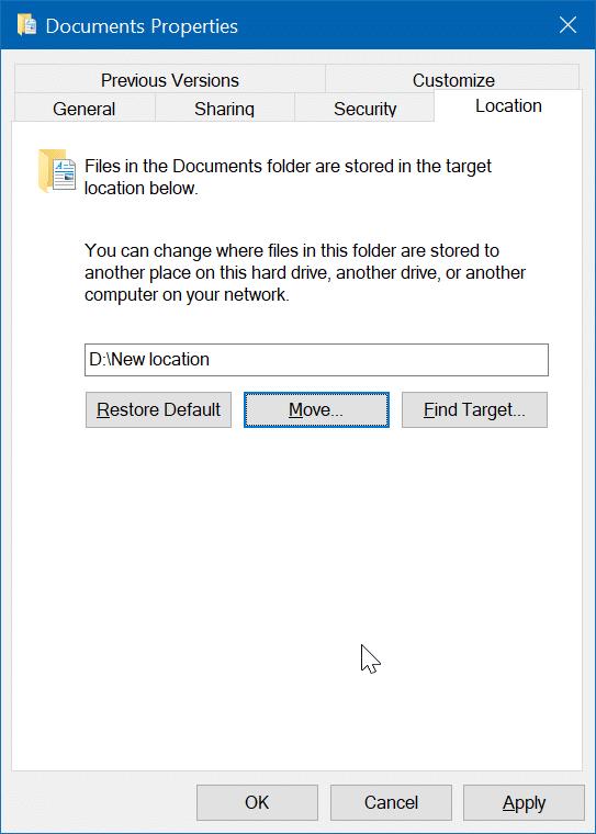 cambiar la ubicación de los documentos escaneados en Windows 10 pic04