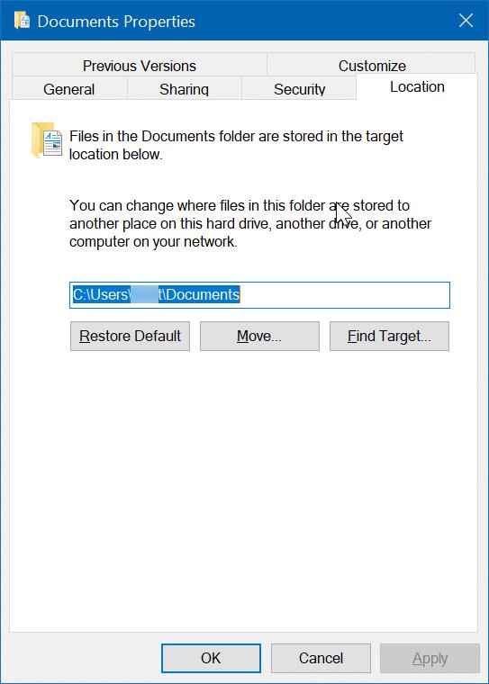 cambiar la ubicación de los documentos escaneados en Windows 10 pic02