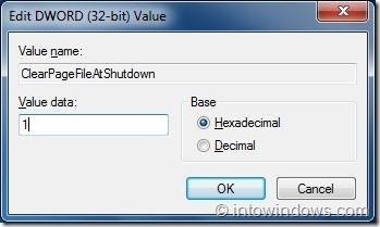 Borrar archivo de paginación de Windows al apagar Windows 7