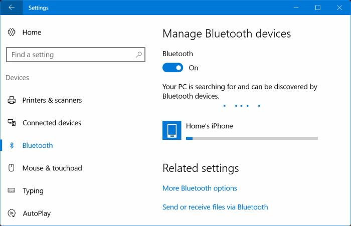Emparejar el iPhone con Windows 10 a través de Bluetooth (2)