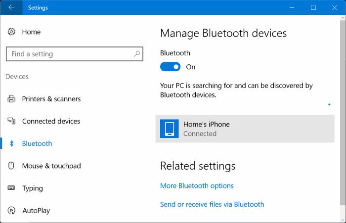 Emparejar el iPhone con Windows 10 a través de Bluetooth (1)