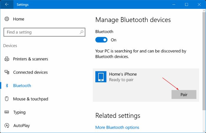 Emparejar el iPhone con Windows 10 a través de Bluetooth (02)