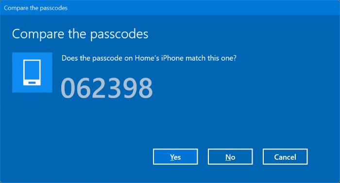 Emparejar el iPhone con Windows 10 a través de Bluetooth (3)