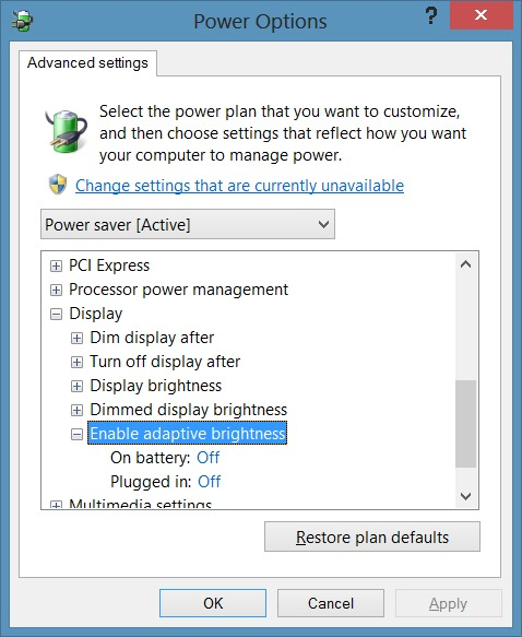 Deshabilitar el brillo automático en Windows 8.1 Step5