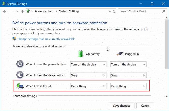 evitar que la computadora portátil se inicie al abrir la tapa en windows 10 pic3