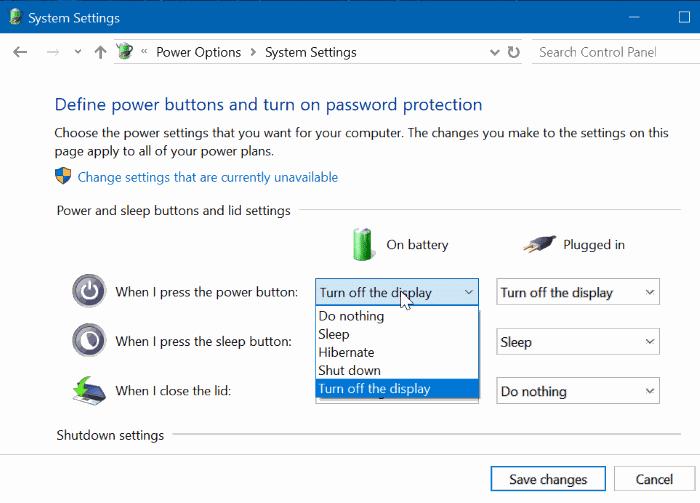 cambiar la configuración del botón de encendido en Windows 10 pic3
