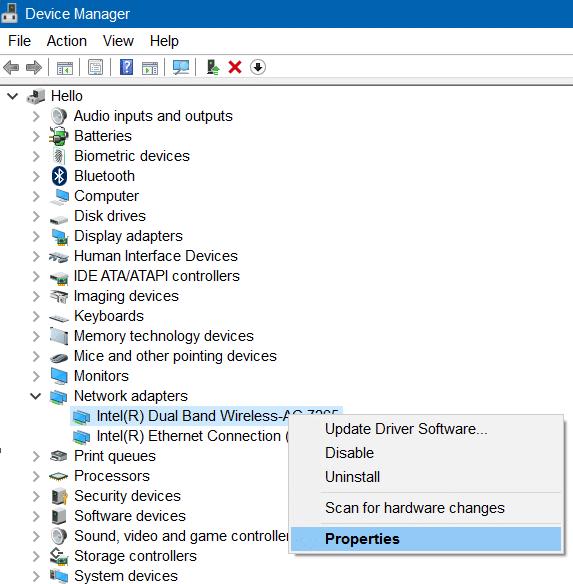 Wi Fi no se conecta después del modo de suspensión en Windows 10, paso 2.1