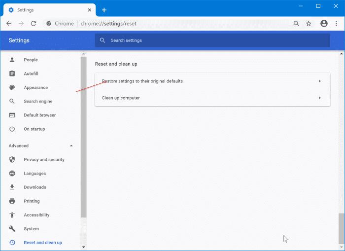 restablecer google chrome a la configuración predeterminada en Windows 10 pic2