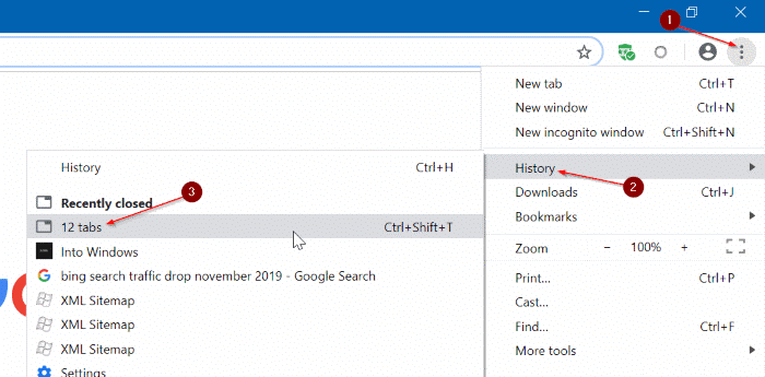 restaurar manualmente la sesión de navegación de Google Chrome en Windows 10 pic1
