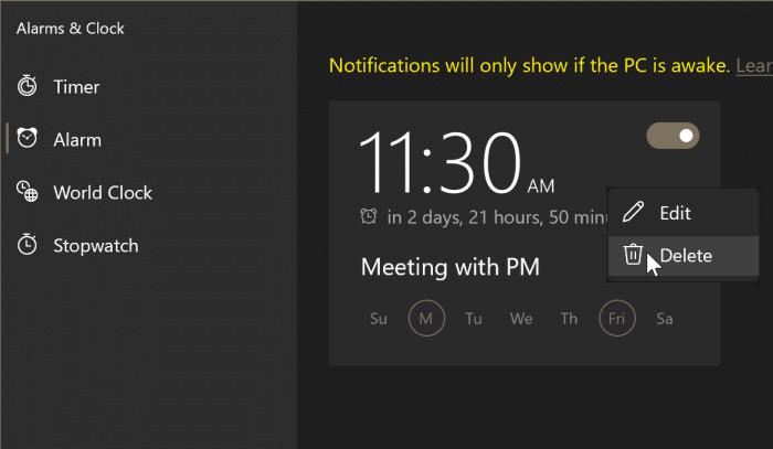 cómo usar alarmas en Windows 10 pic7