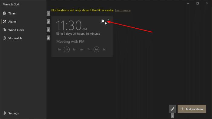 cómo usar alarmas en Windows 10 pic5
