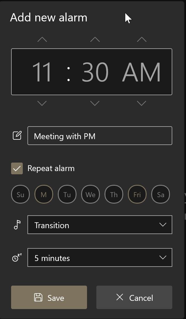 cómo usar alarmas en Windows 10 pic4