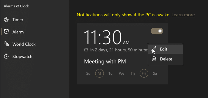 cómo usar alarmas en Windows 10 pic6