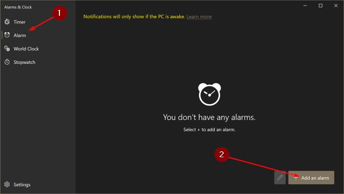 cómo usar alarmas en Windows 10 pic2