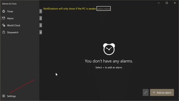 cómo usar alarmas en Windows 10 pic9