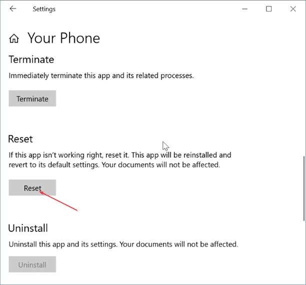 Desinstale o reinstale la aplicación Your Phone en Windows 10 pic6