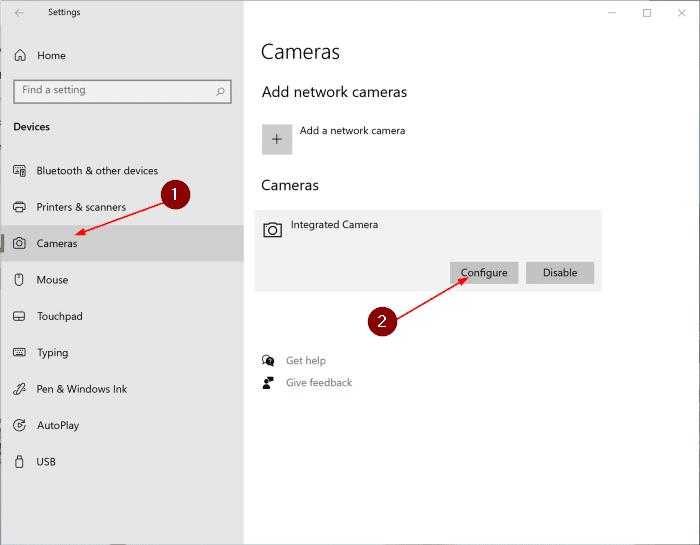 cambiar la configuración de la cámara en Windows 10 pic1