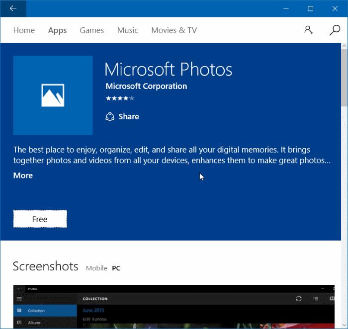 Reinstale la aplicación Fotos en Windows 10 paso 7