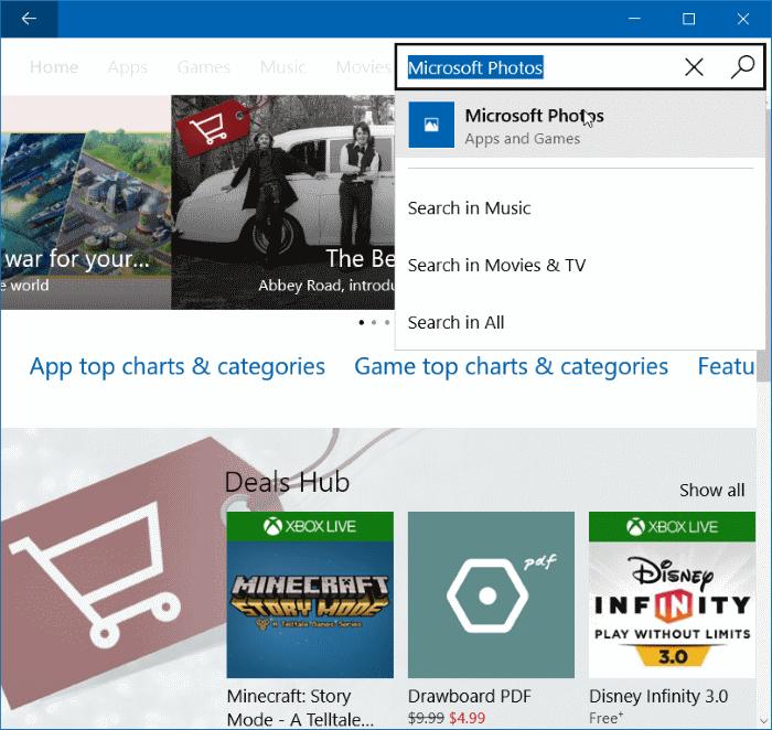 Reinstale la aplicación Fotos en Windows 10 paso 6