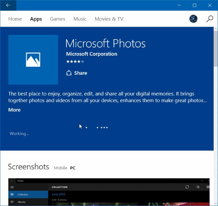 Reinstale la aplicación Fotos en Windows 10 paso 8