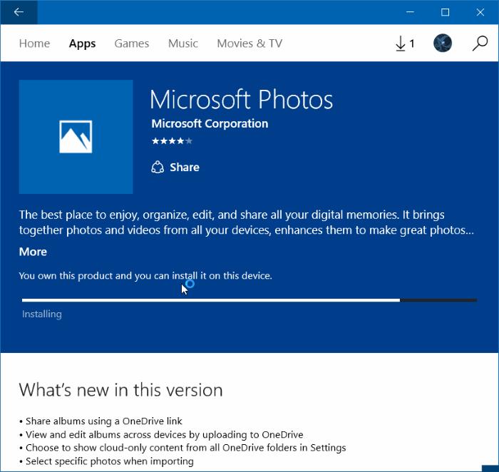Reinstale la aplicación Fotos en Windows 10 paso 10
