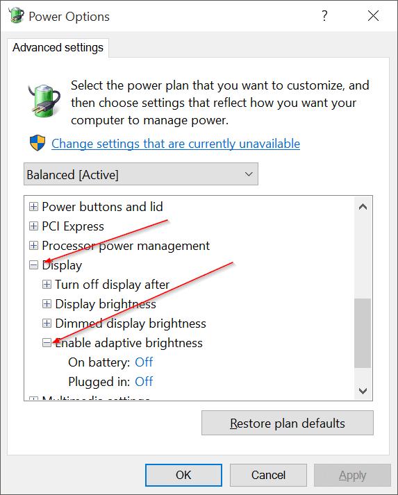Deshabilitar el brillo automático de la pantalla en Windows 10 pic4