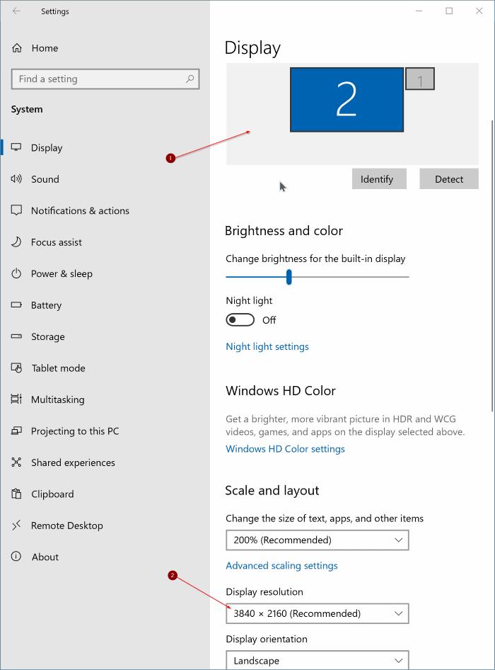cambiar la resolución de pantalla en Windows 10 pic2