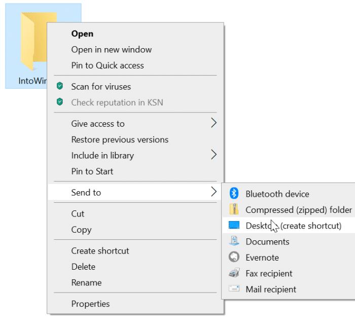crear un atajo de teclado para abrir una carpeta en Windows 10 pic1