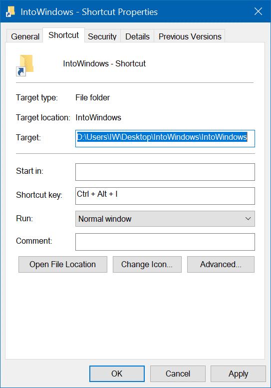 crear un atajo de teclado para abrir una carpeta en Windows 10 pic4