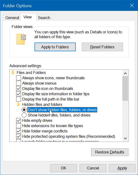 ocultar archivos o carpetas en el escritorio en Windows 10 pic5