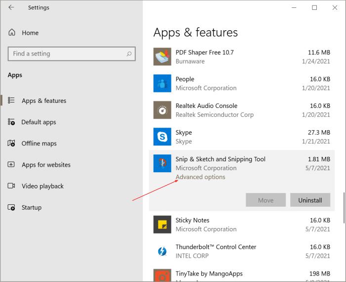 desinstale o vuelva a instalar la herramienta de recorte y recorte y dibuje Windows 10 pic2
