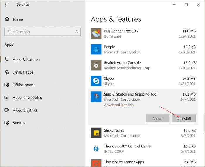 desinstale o reinstale la herramienta de recorte y recorte y bosqueje Windows 10 pic1
